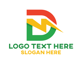 Charging Station - Colorful Lightning D logo design