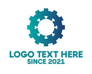 Virus - Blue Virus Gear logo design