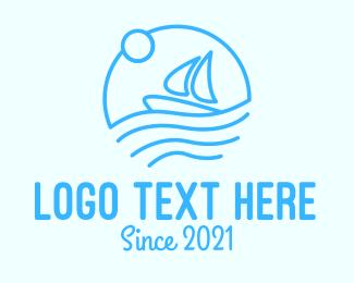 Greek Islands - Blue Boat Sailing logo design