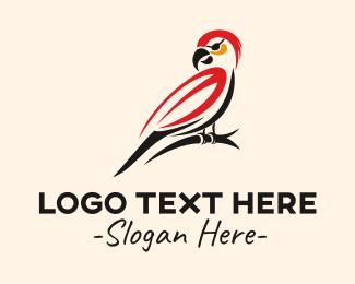 Pirate - Red Pirate Parrot  logo design