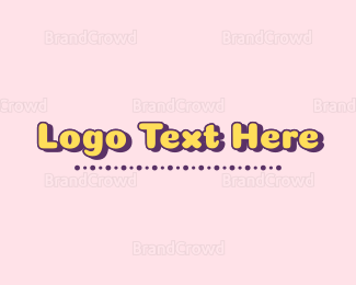 Purple And Yellow - Cute Text logo design
