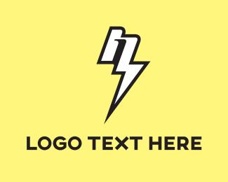 Battery - Thunder Letter logo design