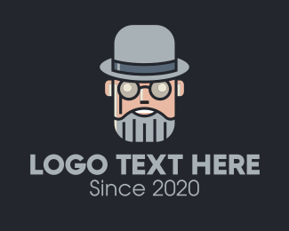 Mysterious - Old Grey Gentleman Spectacles logo design