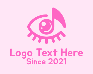 Voice Lesson - Pink Eye Music Note logo design