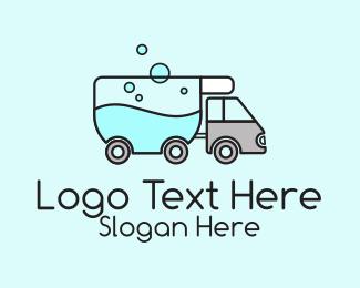 Shipment - Laundry Service Truck  logo design