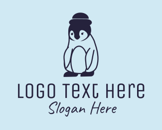 Blue Penguin - Penguin Hat logo design