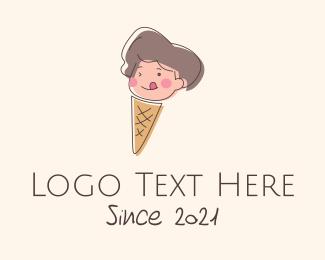Ice Cream Cone - Kid Iced Cream Mascot logo design