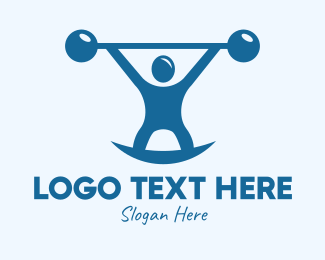 Powerlifter - Blue Fitness Weightlifting logo design
