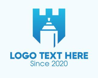 Youth - Blue Spray Paint Shield logo design