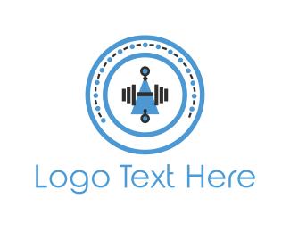 Bodybuilder - Dumbbell Circle logo design