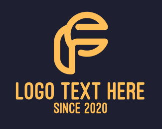 Abstract Style - Digital Yellow Letter F logo design