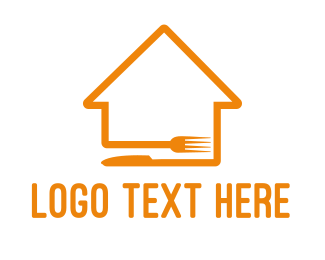 Orange House - House Cutlery logo design