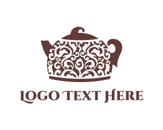 Teapot - Floral Teapot logo design