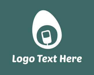 Telephone - White Mobile Egg logo design