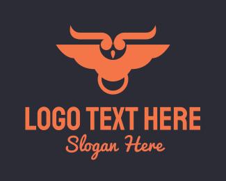 Horn - Orange Horned Owl logo design