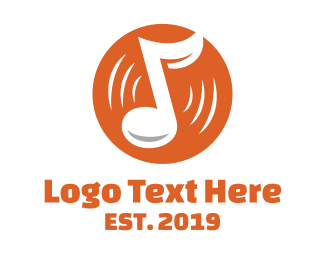 Record Album - Orange Vinyl Music logo design