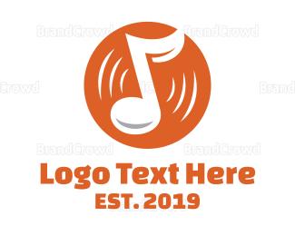 Cd - Orange Vinyl Music logo design