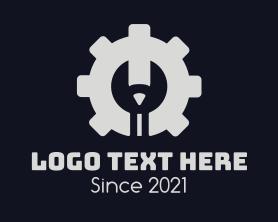 Automation - Engineering Pencil Cogwheel logo design