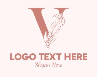 Spa - Elegant Leaves Letter V logo design