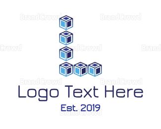 Blocks - Blue Cube L logo design
