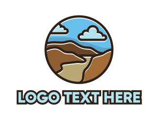 Scenic - Cloudy Mountain Outline logo design