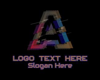 A - Gradient Glitch Letter A logo design