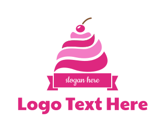 Pink Cherry - Cherry Ice Cream Sundae logo design