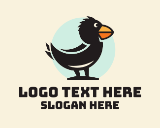 Character - Cute Crow Character logo design