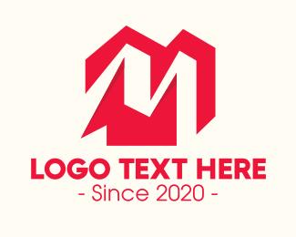 Home Rental - Red Residential Home Letter M logo design