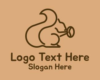 Woodland - Squirrel Coffee Bean logo design