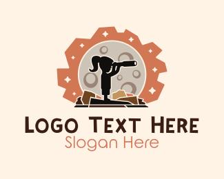 Telescope - Scientist Girl Telescope logo design