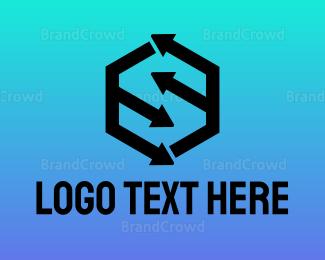 Direction - Hexagon Arrow S logo design