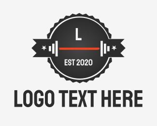 Muscle - White Dumbbells logo design