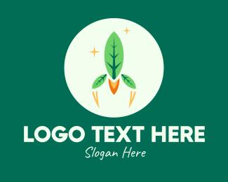 Space Vehicle - Eco Leaf Rocket Spaceship logo design