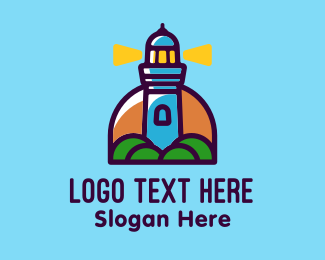 Tourism - Island Lighthouse Tower  logo design