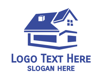 Renovation - Blue Abstract House logo design