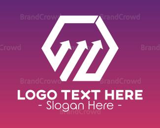 Distributor - Hexagon Upward Arrow logo design