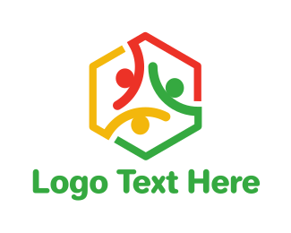 Ribbons - Colorful Hexagon People logo design