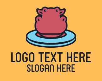 Hippo - Cute Pink Hippo  logo design