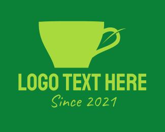 Tea Leaf - Green Leaf Cup  logo design