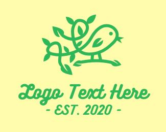 Finch - Little Green Bird Vine logo design