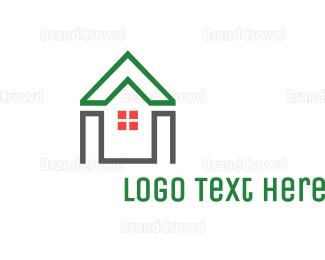 Shape - Green House Shape logo design
