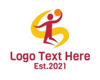 Player - Jumping Basketball Player logo design