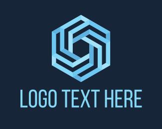Geometrical - Blue Hexagon logo design