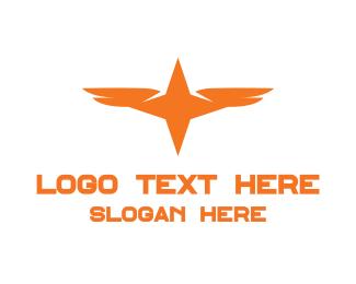 Soldier - Orange Star Wing logo design