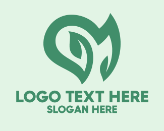 Ecofriendly - Natural Heart Plant logo design