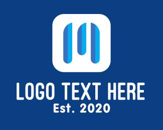 Stream - Blue Letter M Streaming Application logo design