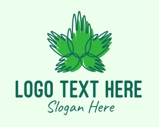 Help - Green Cannabis Hands logo design