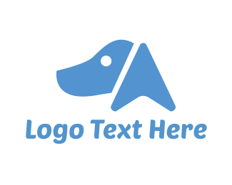 Doggy - Blue Dog Face logo design