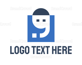English - Blue Square Apostrophe logo design
